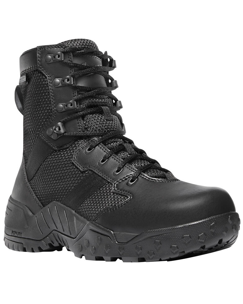 "Danner Men's Black Scorch Side Zip 8"" Boots - Round Toe , Black, hi-res"