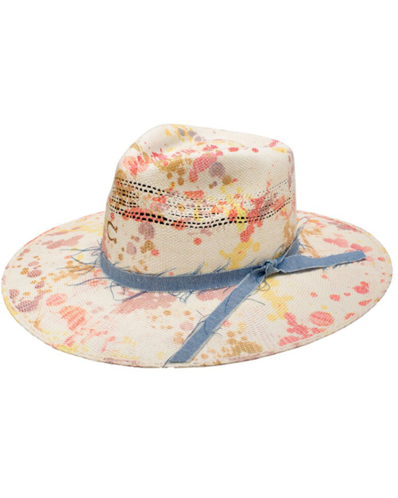 Charlie 1 Horse Women's Big Splash Splattered Print Western Straw Hat , No Color, hi-res