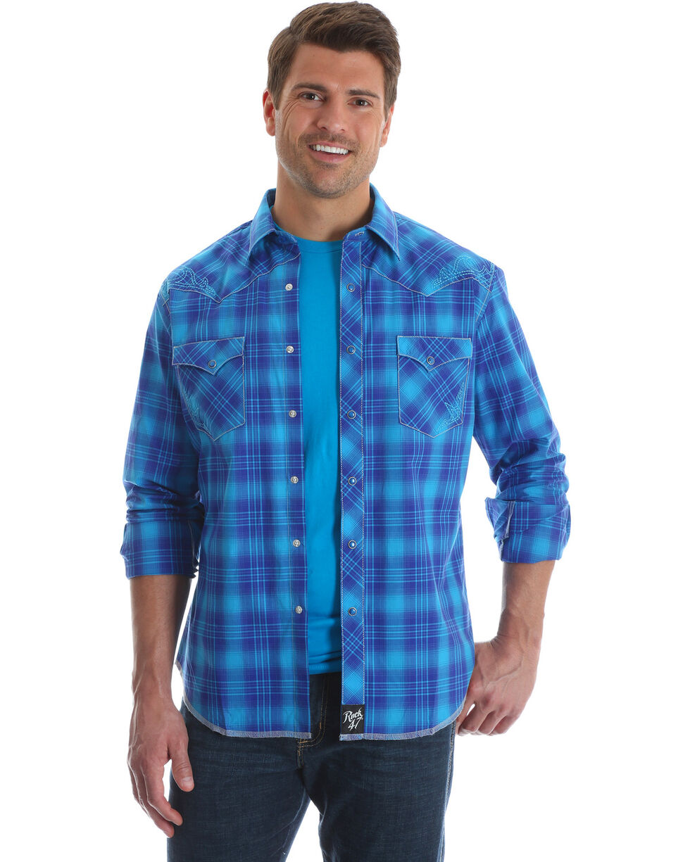 Wrangler Rock 47 Men's Blue Large Plaid Print Shirt , Blue, hi-res