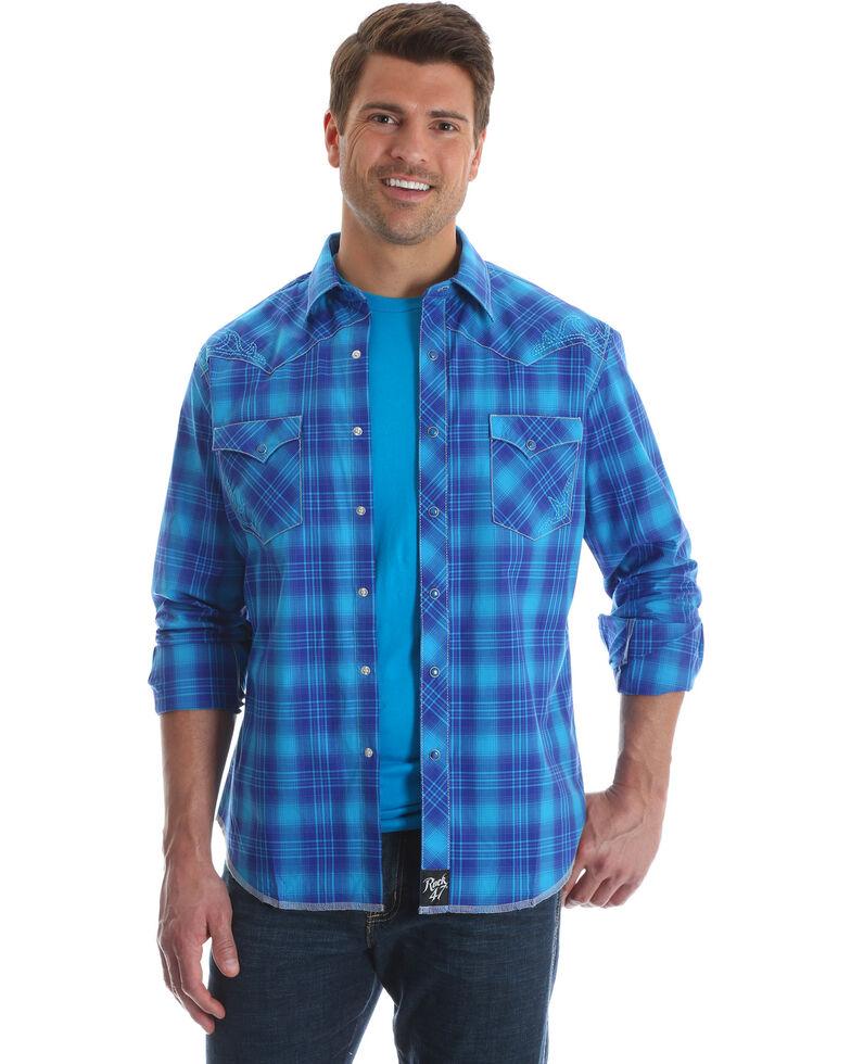 Rock 47 by Wrangler Men's Blue Large Plaid Print Shirt , Blue, hi-res