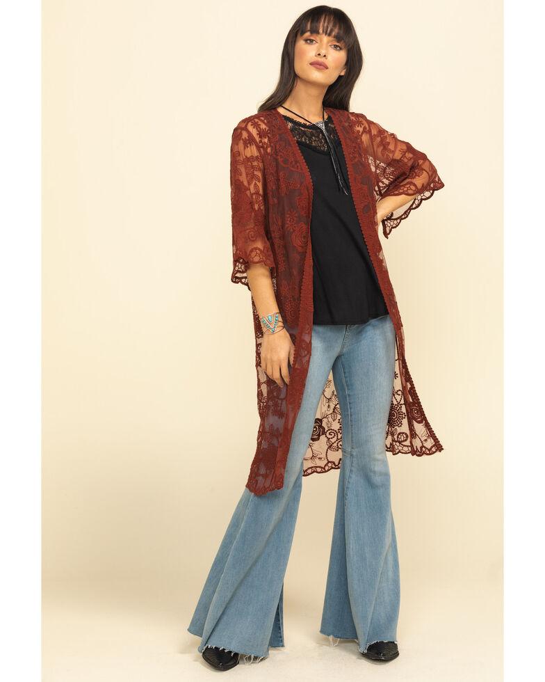 Shyanne Women's Lace Duster Kimono, Rust Copper, hi-res