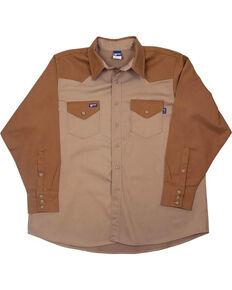 Lapco Men's Khaki FR Two-Tone Long Sleeve Work Shirt , Beige/khaki, hi-res
