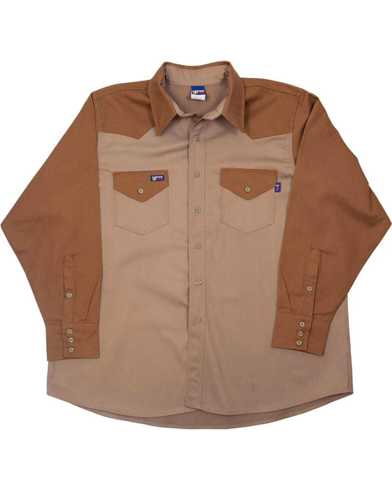 Lapco Men's Khaki FR Two-Tone Long Sleeve Work Shirt , Beige/khaki, hi-res