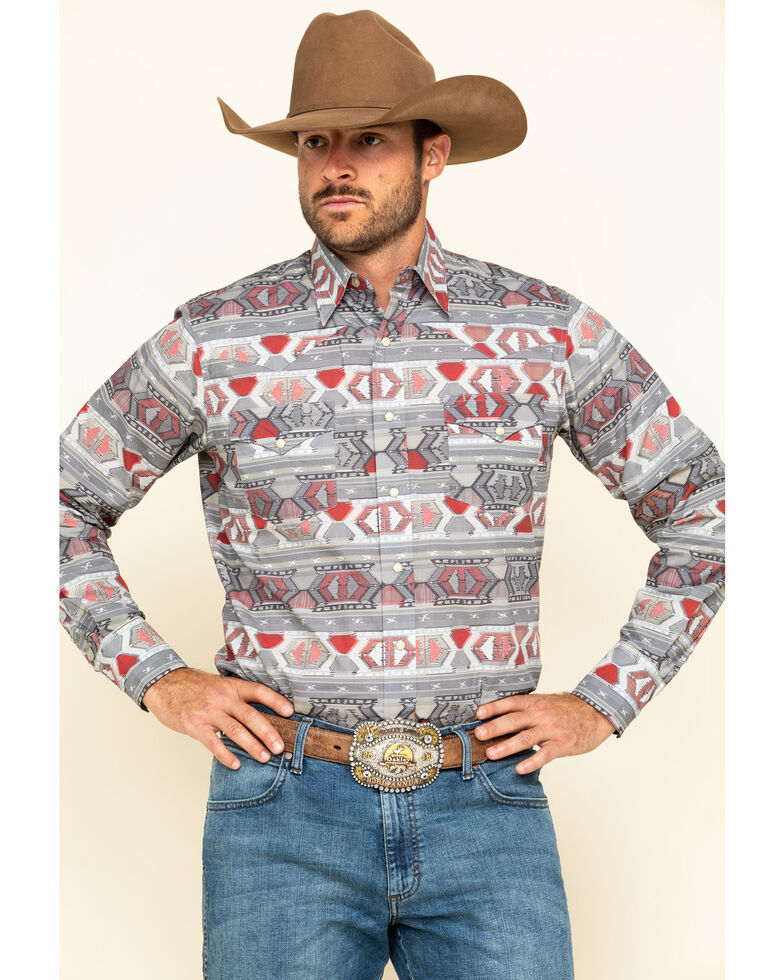 Roper Men's West Made Aztec Weaving Print Long Sleeve Western Shirt , Red, hi-res