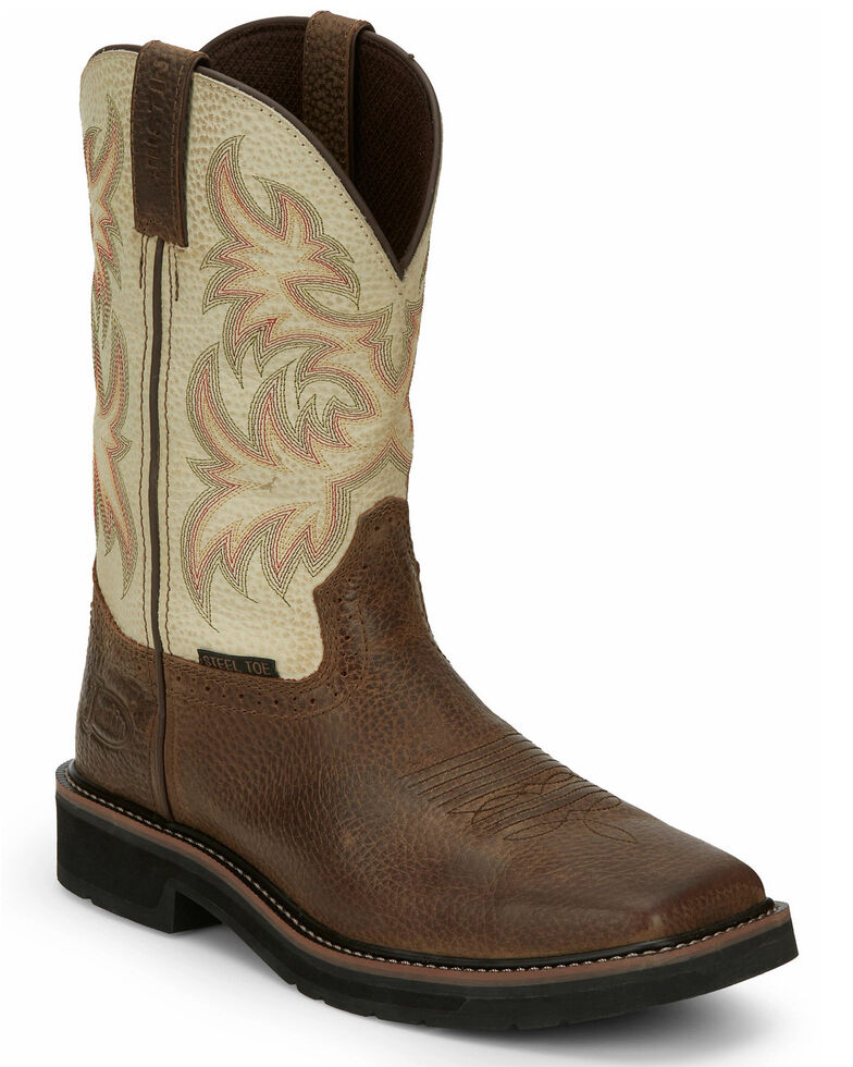 Justin Men's Driller Western Work Boots - Steel Toe, Dark Brown, hi-res