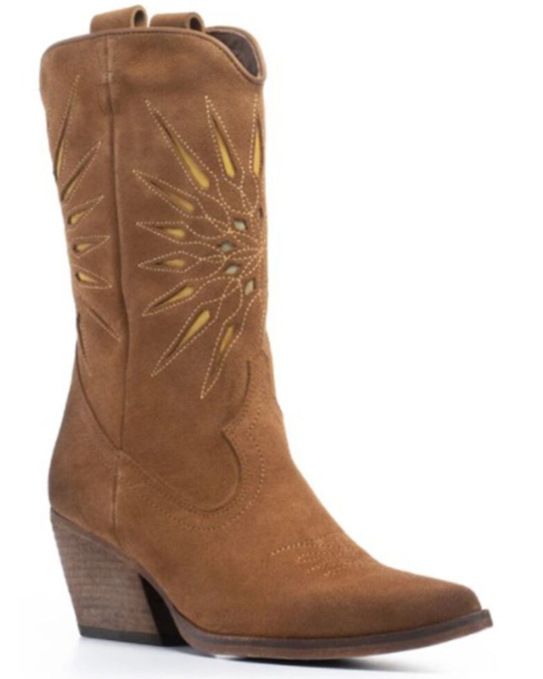 Golo Women's Contrasting Inlaid Sun Western Boots - Round Toe, Camel, hi-res