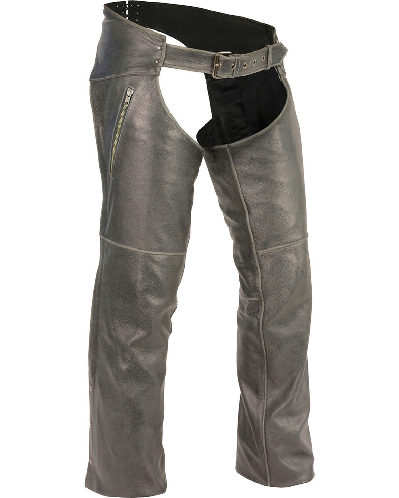 Milwaukee Leather Men's Grey Deep Thigh Vintage Chaps - Big 5X , Grey, hi-res