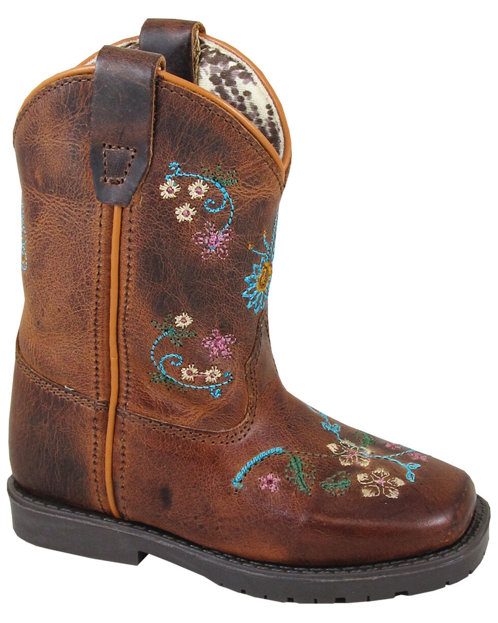 Smoky Mountain Toddler Girls' Floralie Western Boots - Square Toe, Brown, hi-res