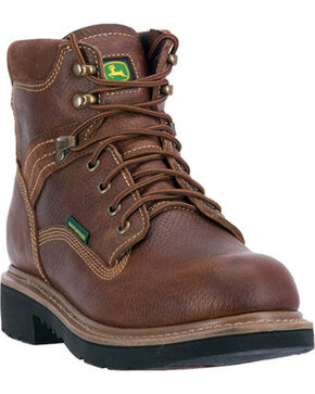 "John Deere Men's 6"" Waterproof Lace Up Boots - Steel toe , Brown, hi-res"