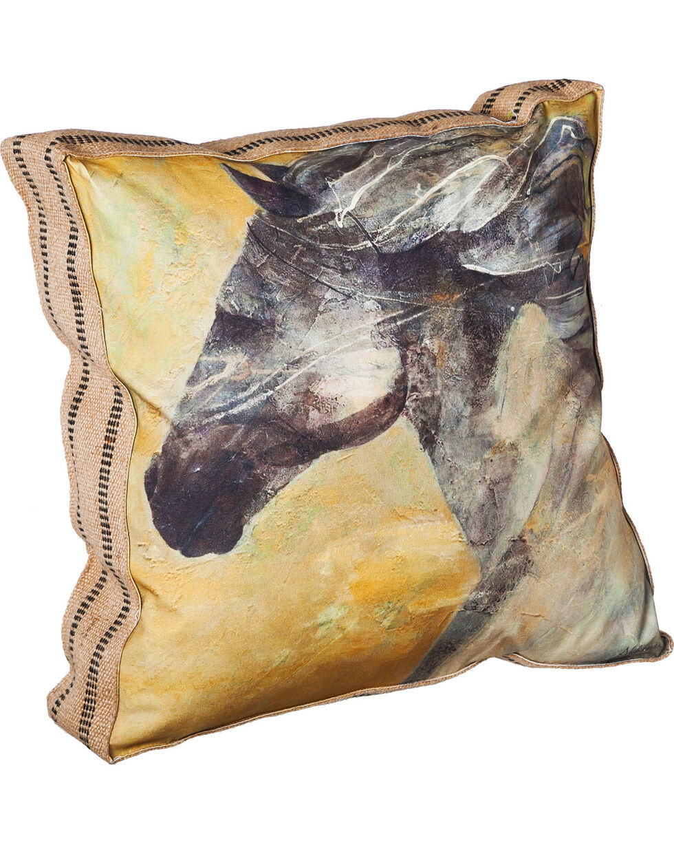 Evergreen Into the Wind Burlap Throw Pillow , Tan, hi-res