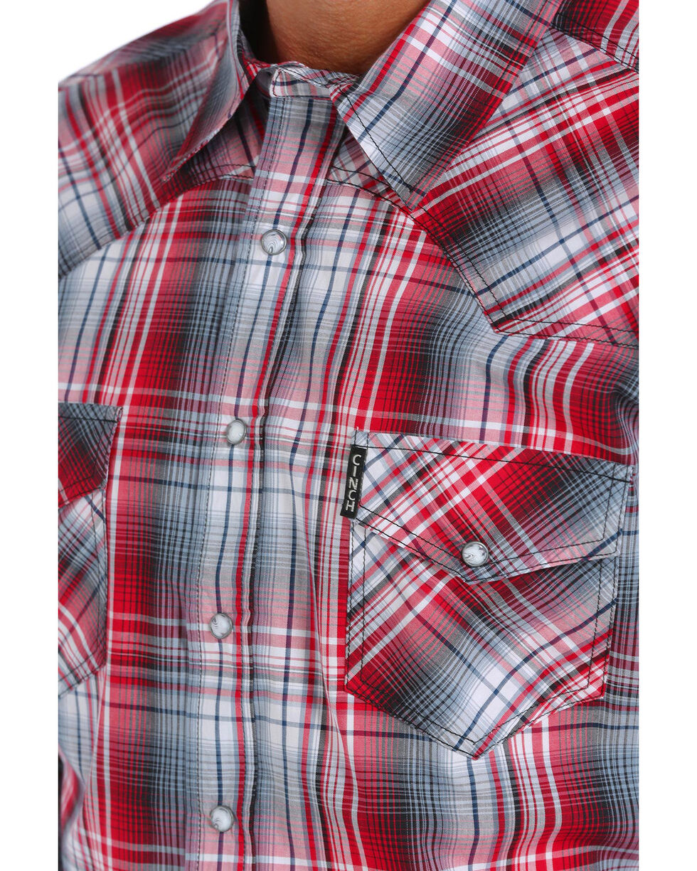 Cinch Men's Modern Fit Plaid Long Sleeve Western Shirt, Purple, hi-res