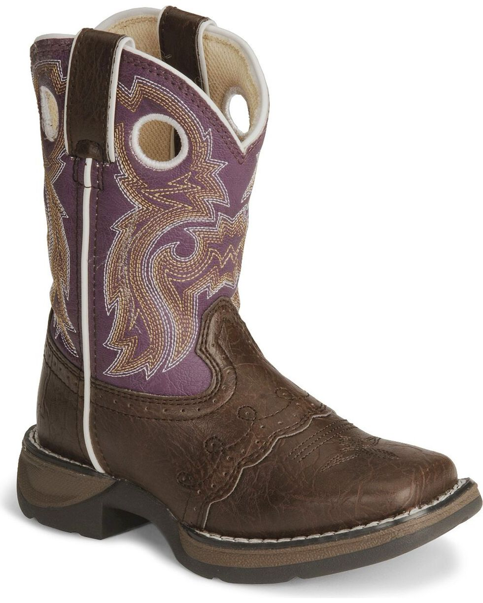 Durango Girls' Purple Cowgirl Boots - Square Toe, Brown, hi-res