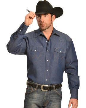 Wrangler Indigo Denim Work Shirt, Indigo, hi-res