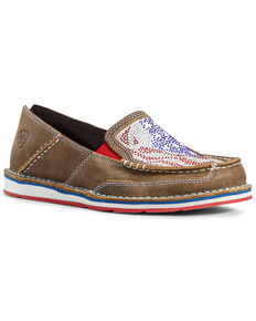 Ariat Women's Sequin Stars & Stripes Cruiser Shoes - Moc Toe, Brown/blue, hi-res