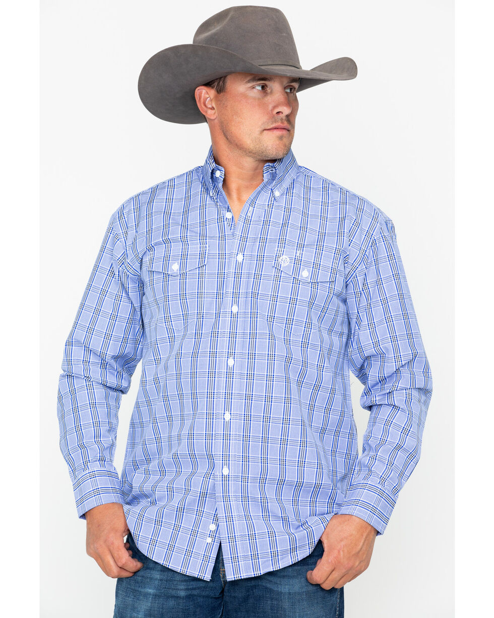 George Strait by Wrangler Men's Blue Plaid Long Sleeve Western Shirt, Black/blue, hi-res