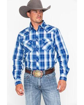 Wrangler Men's Fashion Snap Plaid Long Sleeve Western Shirt, Blue/white, hi-res