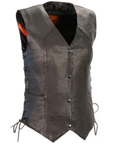 Milwaukee Leather Women's Black Lightweight Side Lace Conceal Carry Vest - 5X, Black, hi-res