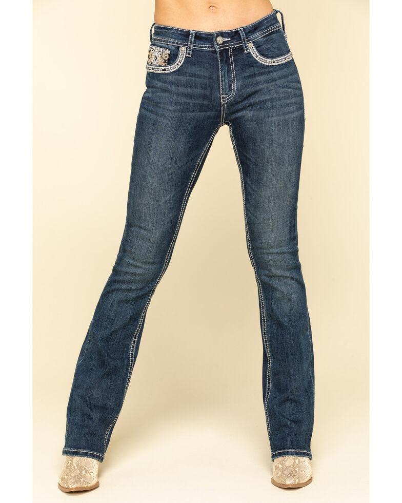 """Grace in LA Women's Dark Embellished Cross 34"""" Bootcut Jeans, Blue, hi-res"""