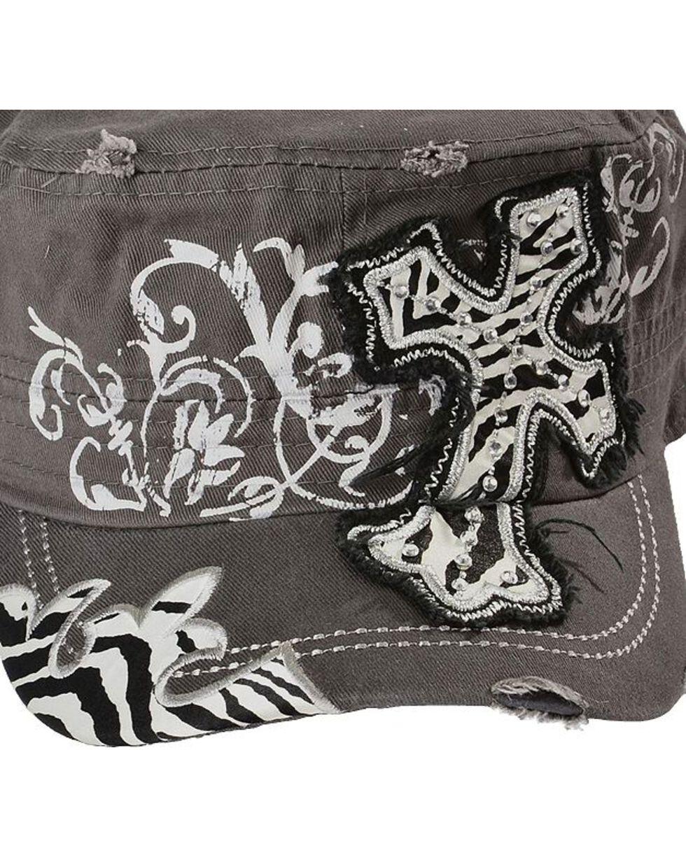 Embroidered Zebra Print Cross Casual Cap, , hi-res