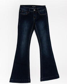 Grace in LA Girls' Medium Basic Flare Jeans, Blue, hi-res