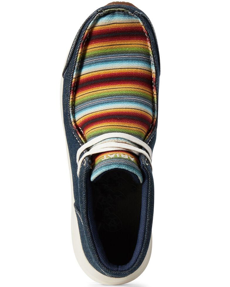Ariat Women's Spitfire Denim Serape Shoes - Moc Toe, Blue, hi-res