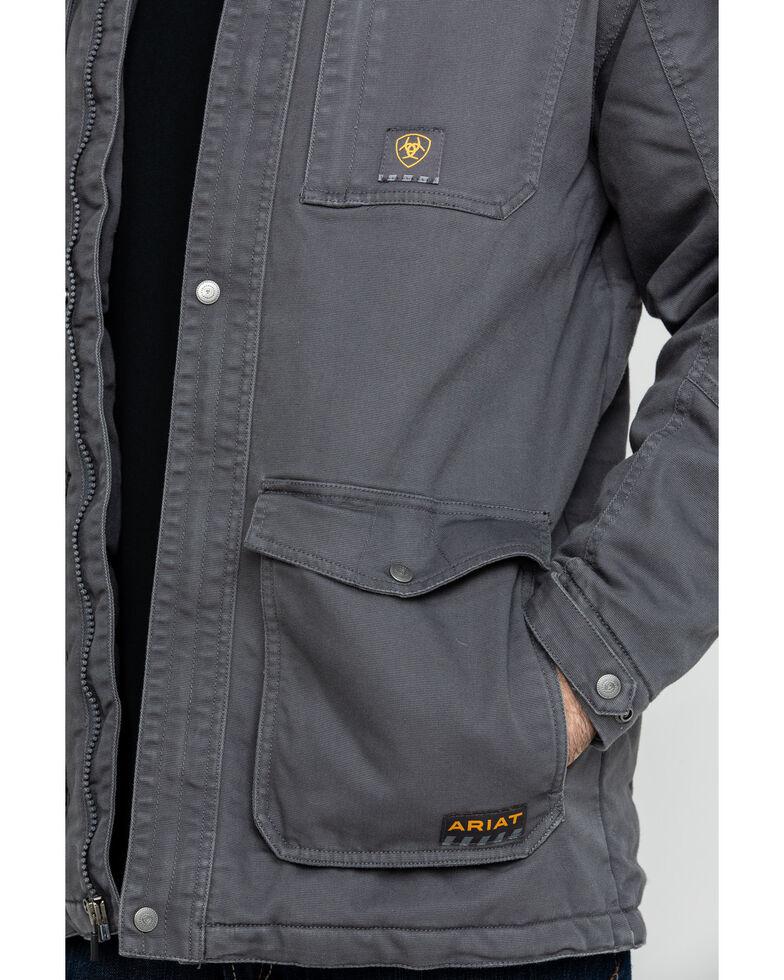 Ariat Men's Rebar Washed Dura Canvas Insulated Work Coat , Grey, hi-res