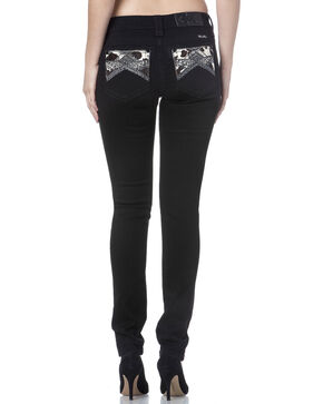 Miss Me Women's Cowhide Embellished Pocket Mid-Rise Skinny Jeans, Black, hi-res