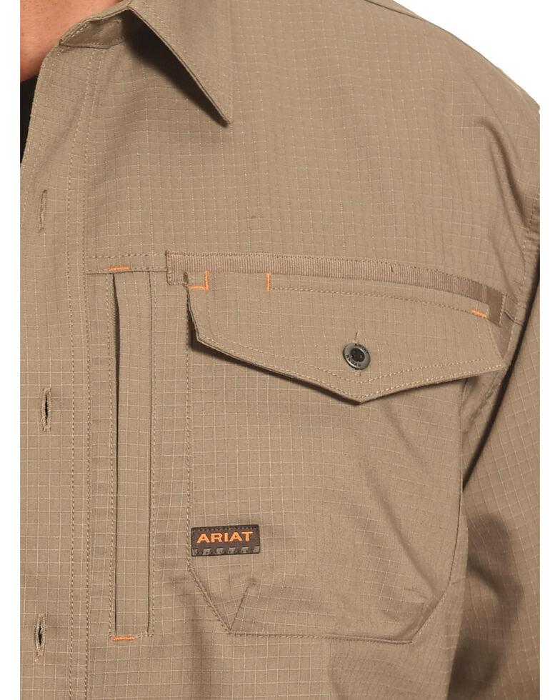 Ariat Men's Rebar Ripstop Work Shirt, Brown, hi-res