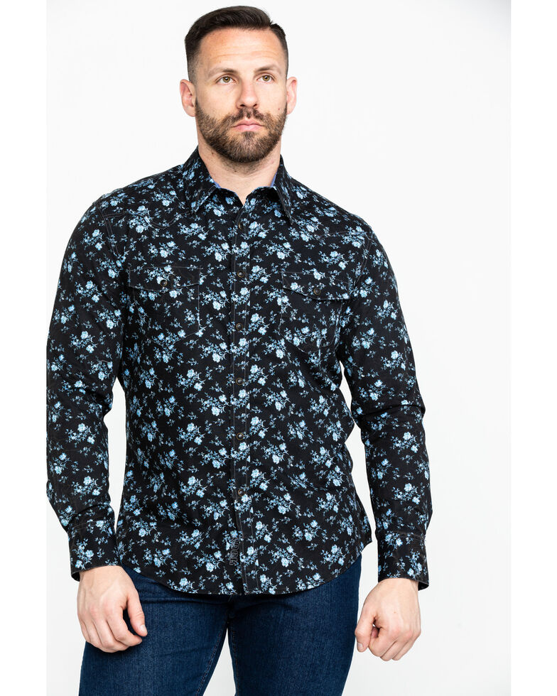Rock & Roll Cowboy Men's Crinkle Floral Print Long Sleeve Western Shirt , Blue, hi-res