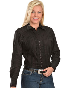 Scully Women's Lace Western Shirt, Black, hi-res