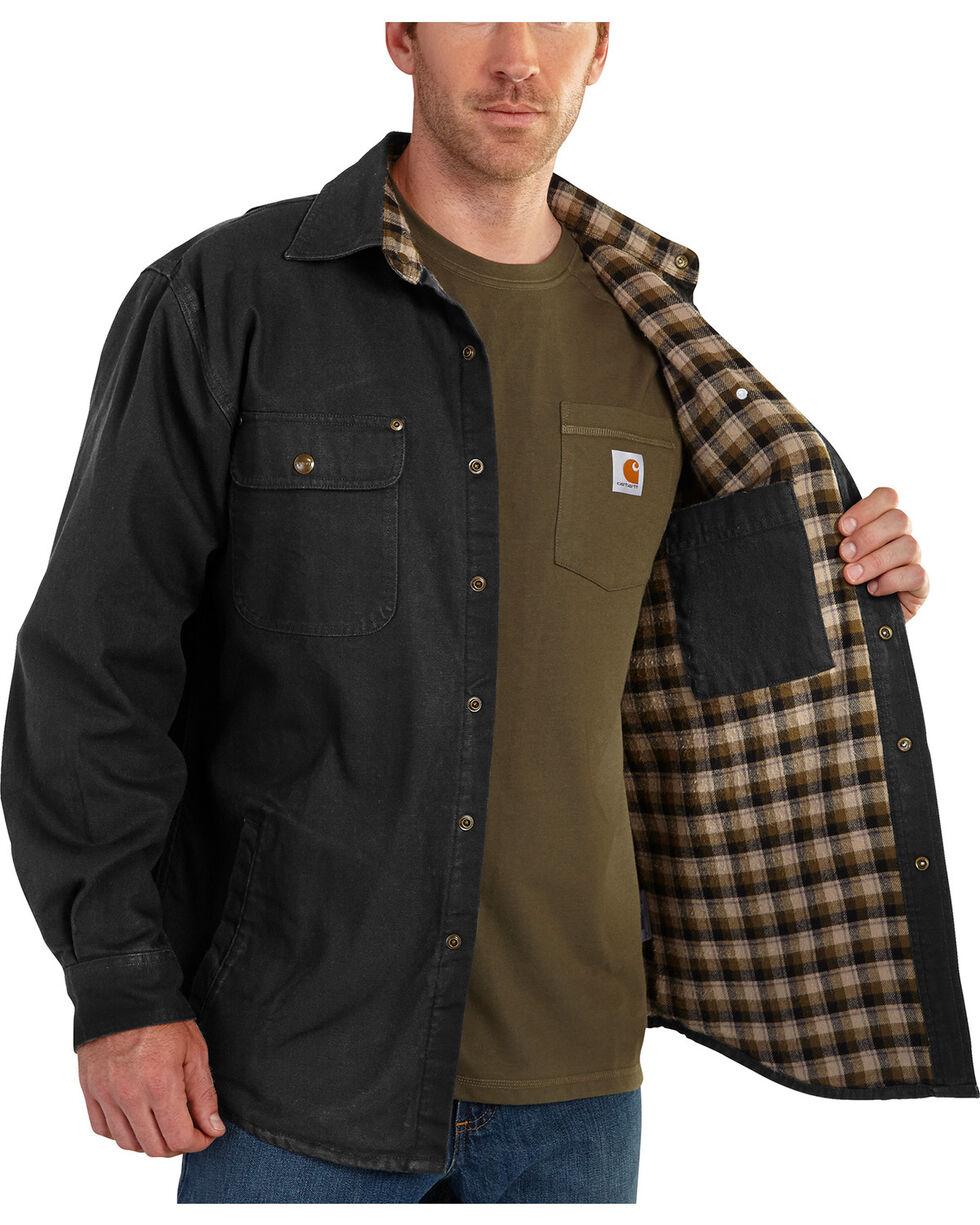 Carhartt Weathered Canvas Shirt Jacket - Big & Tall, Black, hi-res
