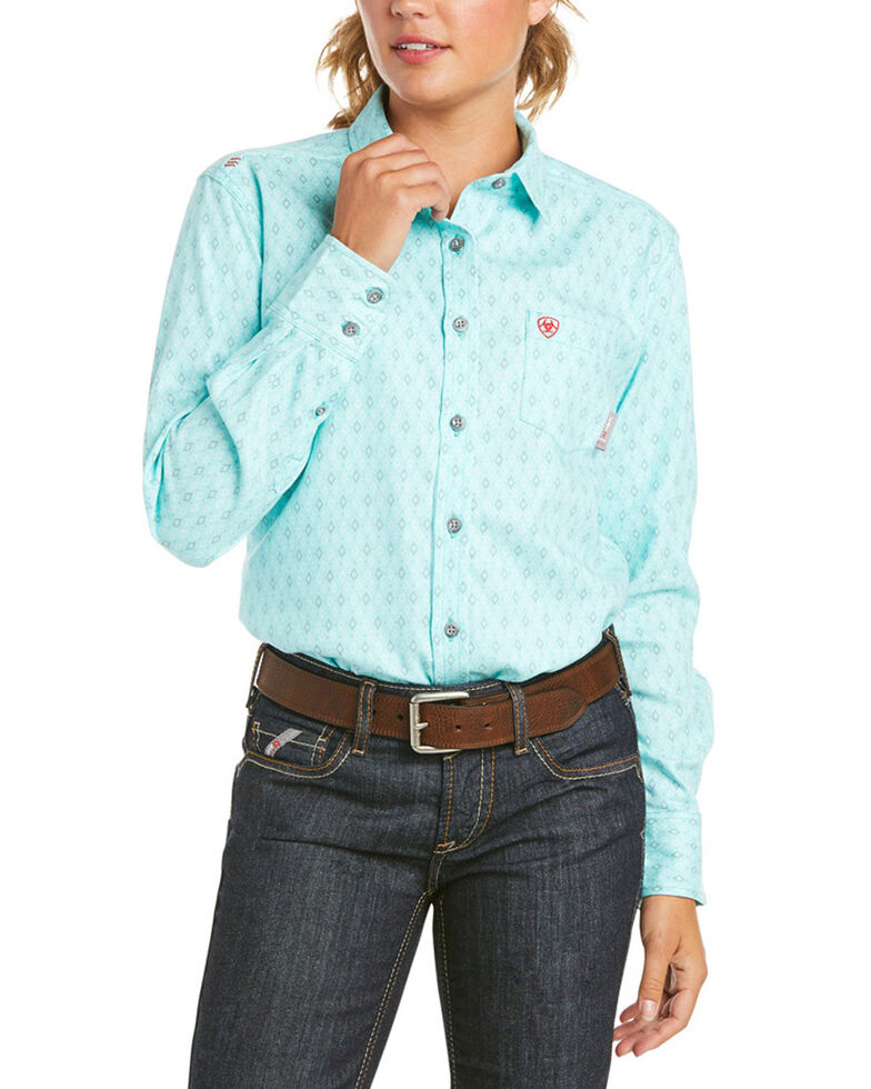 Ariat Women's FR Gemini Geo Print Durastretch Long Sleeve Button Work Shirt , Blue, hi-res