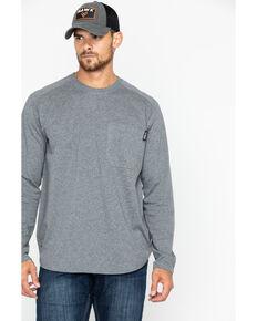 Hawx® Men's Heather Grey Logo Crew Long Sleeve Work T-Shirt - Big , Heather Grey, hi-res