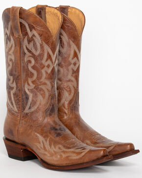 Shyanne® Women's Dublin Embroidery X Toe Western Boots, Tan, hi-res