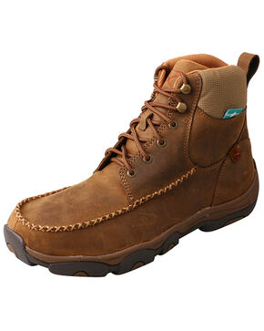 Twisted X Men's Distressed Saddle Work Boots - Composite Toe, Tan, hi-res