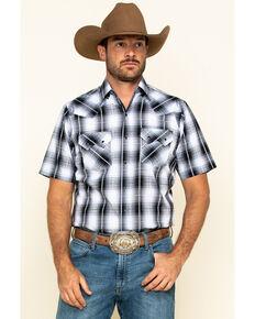 Ely Cattleman Men's Black / Blue Dobby Plaid Short Sleeve Western Shirt , Black, hi-res