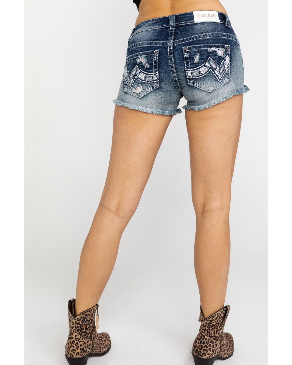 Shyanne Women's Denim Embroidered Pocket Cut-Off Shorts  , Blue, hi-res