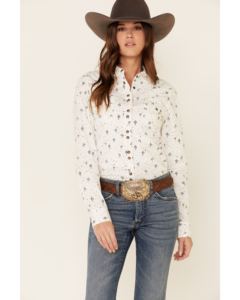 Shyanne Life Women's White Cactus Print Long Sleeve Western Riding Shirt , White, hi-res
