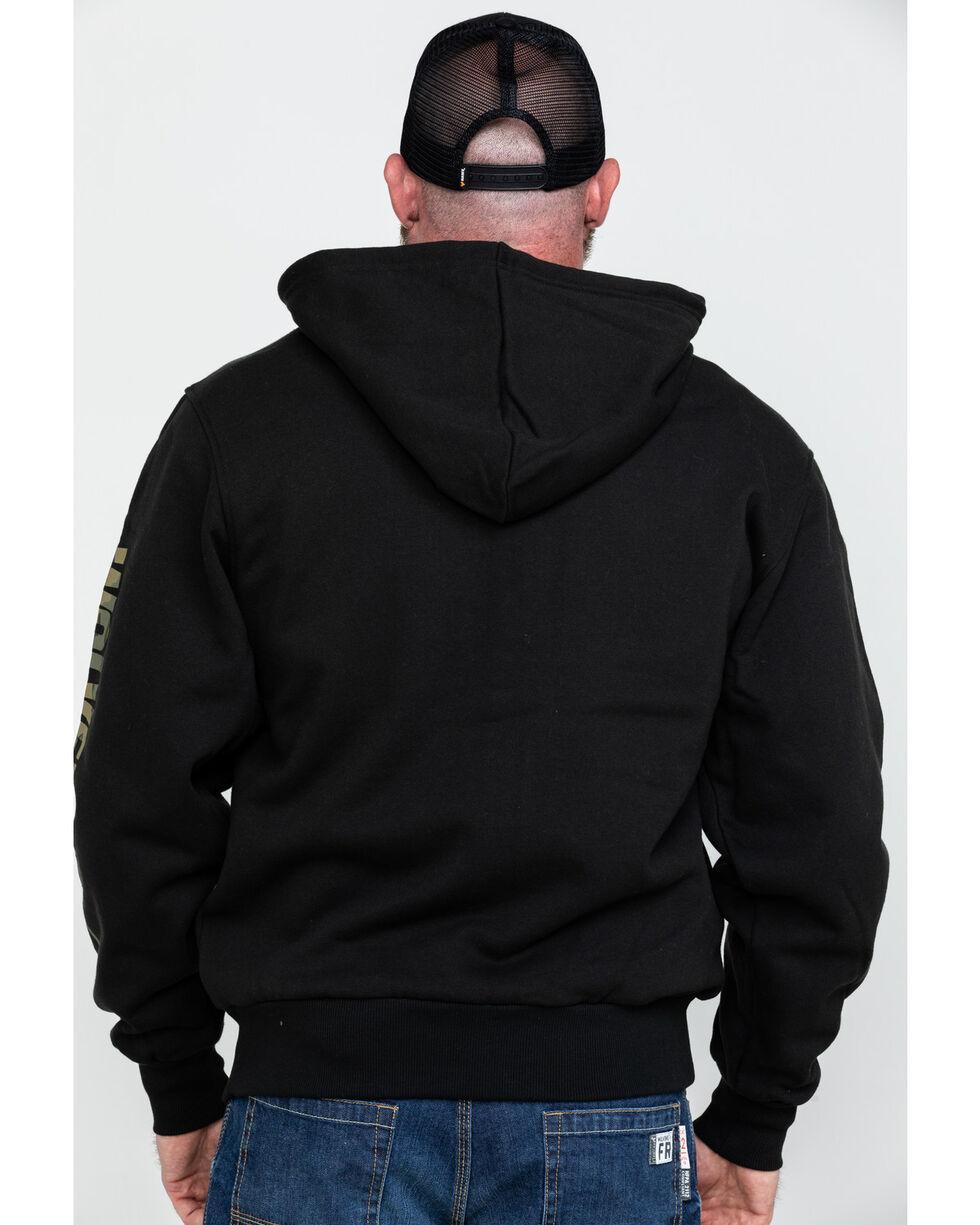 Wolverine Men's Black Logo Sleeve Zip-Up Work Hoodie , Black, hi-res