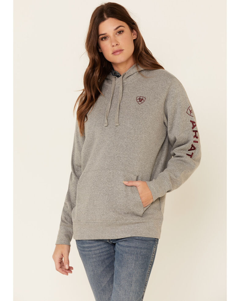 Ariat Women's Heather Grey Embroidered Logo Sleeve Hoodie, Heather Grey, hi-res