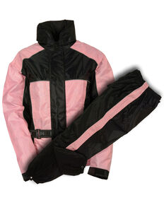 Milwaukee Leather Women's Waterproof Rain Suit with Reflective Piping - 5X, Pink/black, hi-res