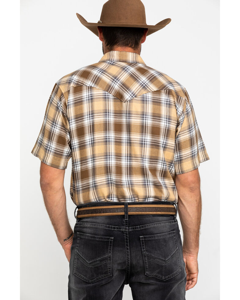 Resistol Men's Brown Walling Large Plaid Short Sleeve Western Shirt , Brown, hi-res
