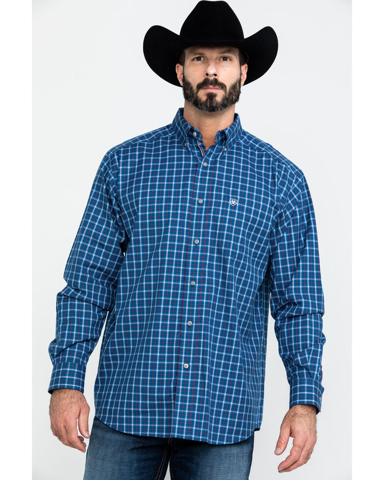 Ariat Men's Dalcin Plaid Long Sleeve Western Shirt - Big , Navy, hi-res