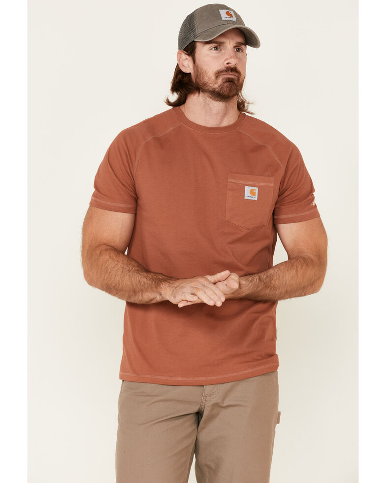 Carhartt Men's Force Cotton Delmont Short Sleeve Work T-Shirt , Bronze, hi-res