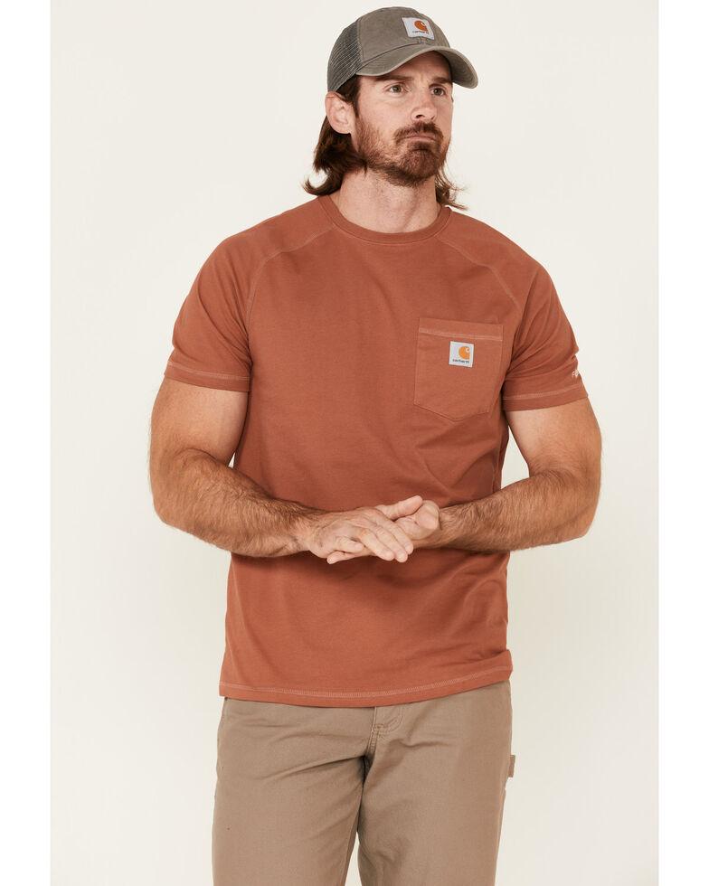 Carhartt Men's Force Cotton Delmont Short Sleeve Work T-Shirt , Bronze, hi-res