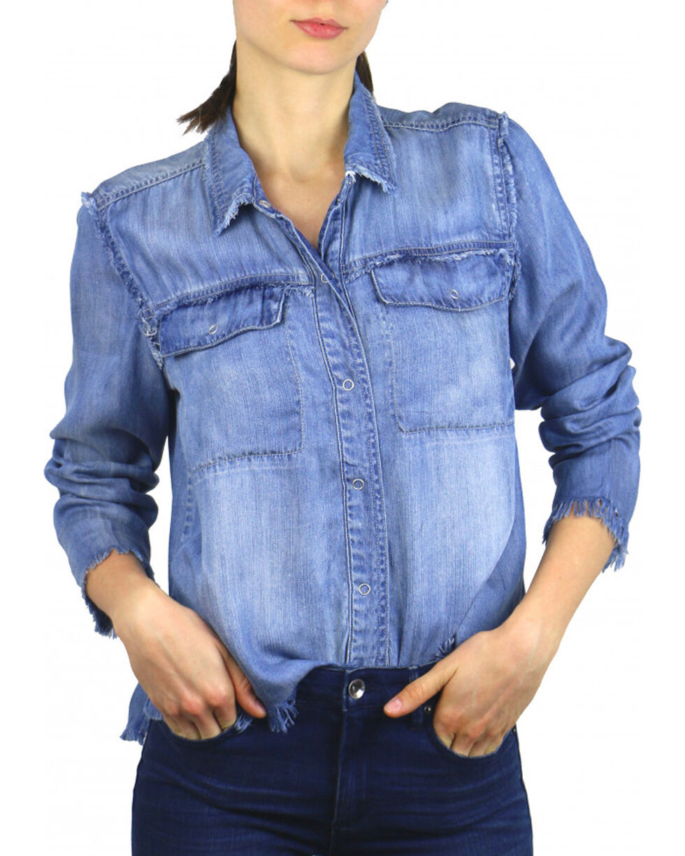 Tractr Women's Indigo Chambray Casual Top , Indigo, hi-res