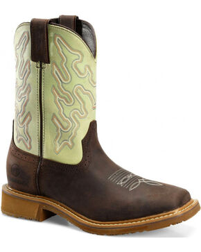 Double H Men's Buster Peanut/Mint WorkFlex Roper Boots - Square Toe, Lt Brown, hi-res
