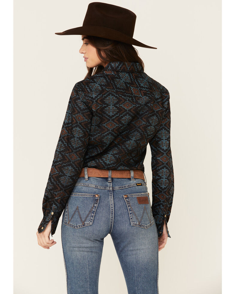 Panhandle Women's Multi Aztec Print Long Sleeve Western Shirt , Multi, hi-res