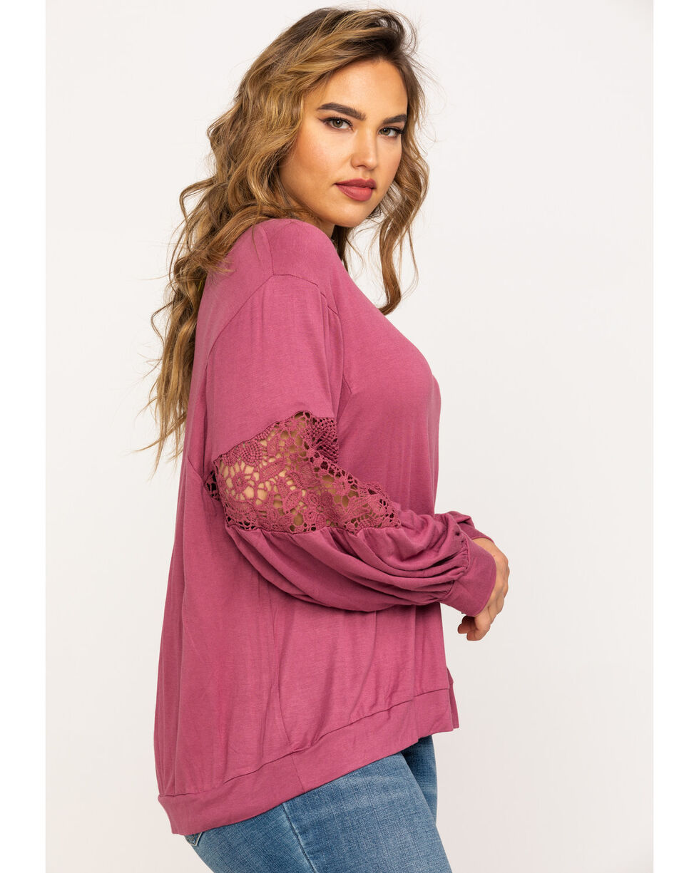 Eyeshadow Women's Lace Inset Long Sleeve Top - Plus , Mauve, hi-res