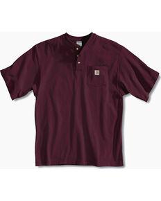 Carhartt Short Sleeve Henley Work Shirt - Big & Tall, Port, hi-res